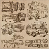 BUSES - An hand drawn vector collection. Freehand sketching. - 206111613