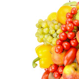 A set of fruits and vegetables isolated on white background. Free space for text.