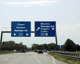 Traffic signs with directions to the city and the state borders - 206114615