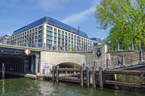 View from the river Spree at the Liebknecht bridge and the Radisson hotel