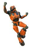 astronaut in orange exo suit exploring arround