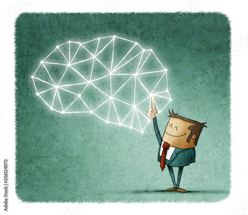 Brainstorming concept with businessman pointing at polygonal brain on blue background
