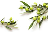green olives on white background. frame background with copy space - 206128638