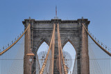 The Brooklyn Bridge above a blue sky - 206131228