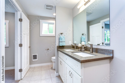 Elegancki, szary i biały design łazienki