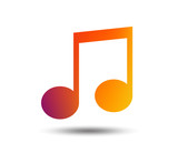 Music note sign icon. Musical symbol. Blurred gradient design element. Vivid graphic flat icon. Vector - 206133489