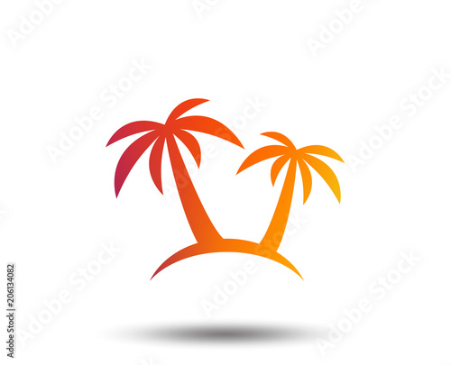 Palm Tree sign icon. Travel trip symbol. Blurred gradient design element. Vivid graphic flat icon. Vector