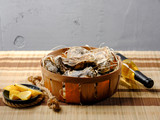 Seafood big oysters plate with lemon and bottle of wine. Diet healthy food. Copy text. - 206135403