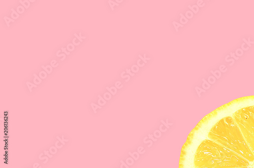 Blank pink background with one slice of lemon © pfeifferv