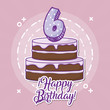 happy birthday design with birhday cake with number candle over pink background, colorful design. vector illustration
