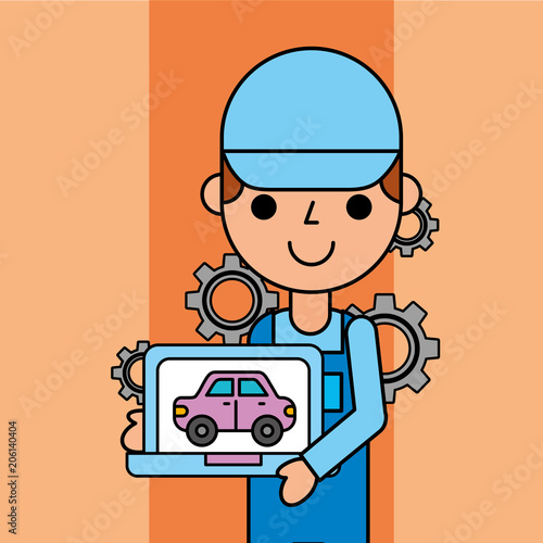 worker holding tablet car service maintenance app vector illustration