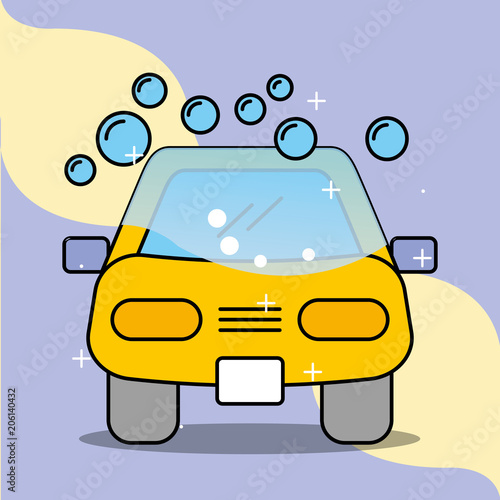 Sticker car wash soap bubbles service maintenance vector illustration