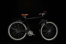 Side View Of Classic Vintage Bicycle  On Black Sticker