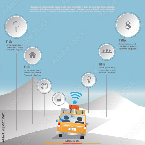 Sticker road trip wifi business infographic