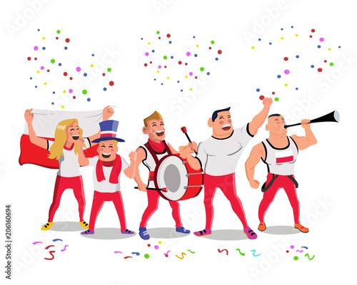 Fototapeta Cheerful Poland National Football Team Supporters Crowd Having Celebrations