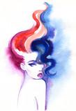 beautiful woman. fashion illustration. watercolor painting - 206166654