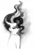 beautiful woman. fashion illustration. watercolor painting - 206166673
