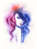 beautiful woman. fashion illustration. watercolor painting - 206166690