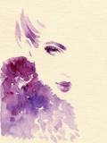 beautiful woman. fashion illustration. watercolor painting - 206166809