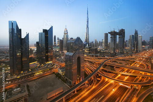 Dubai sunrise panoramic view of Burj Khalifa
