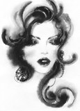 beautiful woman. fashion illustration. watercolor painting - 206167495