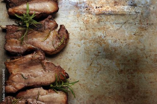 Fotobehang Steakhouse Porsaan liha Carne de cerdo Pork meat Wieprzowina Svinjsko meso Schweinefleisch