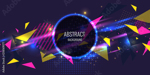 Abstract poster for the placement of text and information. Geometric shapes and neon glow against.
