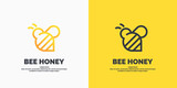 Modern linear logos for beekeepers. The stickers on the products of the apiary. Vector label for bee honey.
