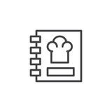 Recipe book outline icon. linear style sign for mobile concept and web design. Cooking book simple line vector icon. Menu symbol, logo illustration. Pixel perfect vector graphics - 206174017