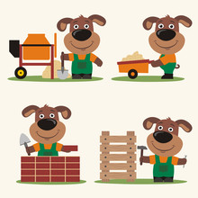 Funny Puppy Dog Builder In Cartoon Style Concrete Mixer Wheelbarrow At Brick Wall And  Hammer Near Wooden Structure Sticker