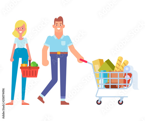 Couple with shopping basket and shopping cart. Buyers in supermarket. Family shopping Flat vector character isolated on white.