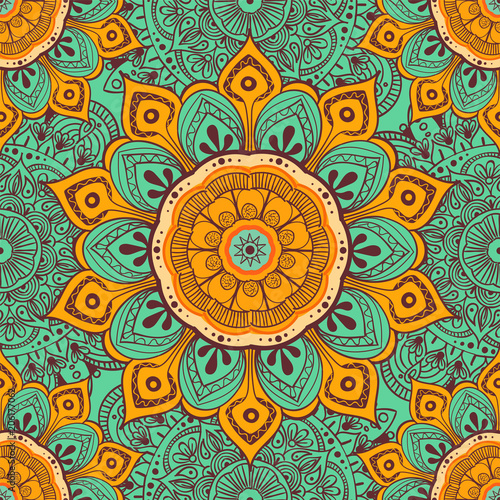 Cotton fabric Flower mandala colorful background for cards, prints, textile and coloring books. Seamless pattern