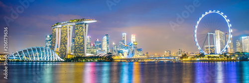 Panorama of Singapore city skyline by night