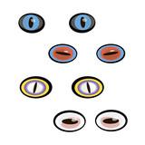 A set of cartoon animal eyes. Vector illustration