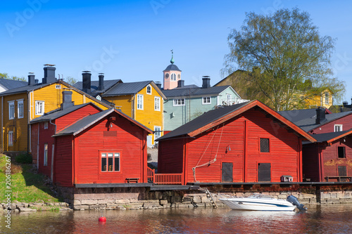 Porvoo, Finland. Old red wooden houses - 206186267