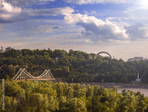 Aluminium Kiev Arch of Friendship of Peoples and Parkovy Pedestrian Bridge in Kiev, A tranquil and calm view of the capital of Ukraine. Scenic nature, outdoors