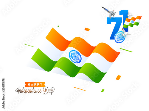 Foto Murales Happy Independence Day Celebration Concept with Indian Flag Waving and stylish text 71 years of Freedom on white background.