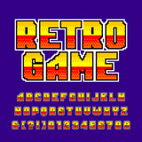 Old game alphabet font. Colorful pixel gradient letters and numbers. Retro 80's video game typeface. - 206197254