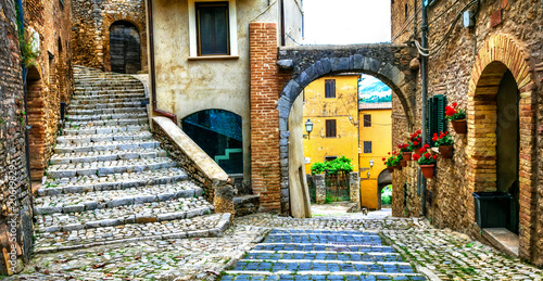 Aluminium Freesurf Traditional medieval villages of Italy - picturesque old streets of Casperia, Rieti province