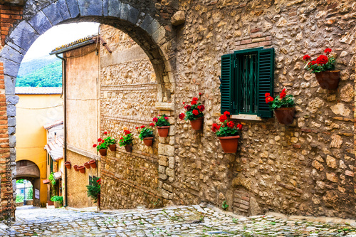Aluminium Freesurf Traditional medieval villages of Italy - picturesque streets of Casperia, Rieti province