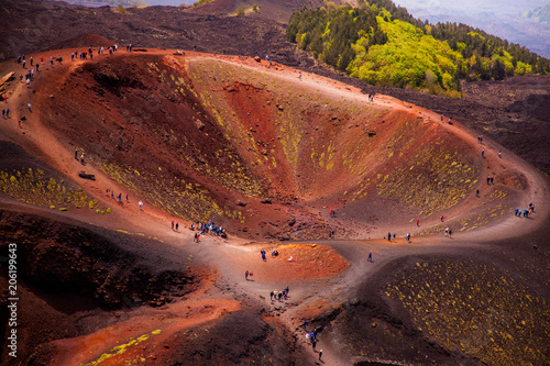Fotobehang Chocoladebruin Etna national park panoramic view of volcanic landscape with crater, Catania, Sicily