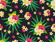 Vector seamless tropical pattern with palm leaves and flowers on dark background. Colourful floral illustration for textile, print, wallpapers, wrapping. - 206199878
