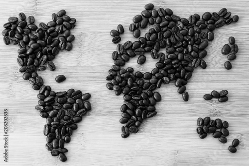 Aluminium Wereldkaarten Map of the World made of Rosted Coffee Beans