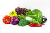 Fresh vegetables isolated on a white background.