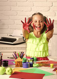 Happy kid having fun. Child happy smiling with colored hands - 206207405