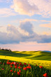 Quadro italy countryside landscape; sunset over the tuscany hills