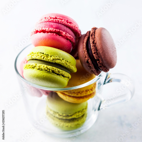 Plexiglas Macarons colorful, bright, traditional French macaroon cookies sweetness
