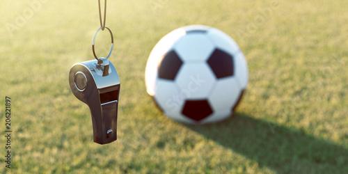 Leinwanddruck Bild Trillerpfeife und Fußball