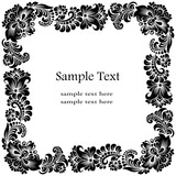 black square frame with floral ornament - 206223096
