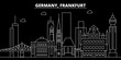 Frankfurt silhouette skyline. Germany - Frankfurt vector city, german linear architecture, buildings. Frankfurt line travel illustration, landmarks. Germany flat icon, german outline design banner